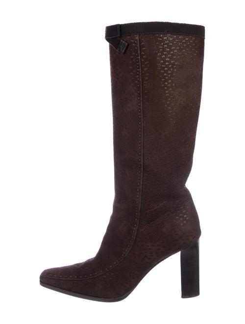 Prada Suede Knee-High Boots Brown