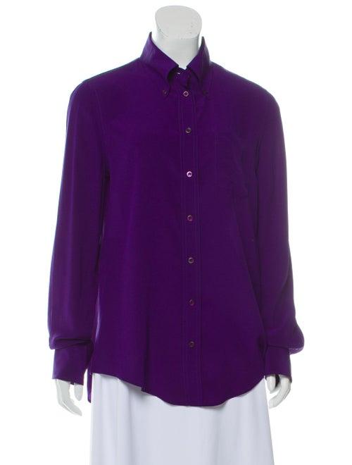 Prada Silk Long Sleeve Blouse Indigo