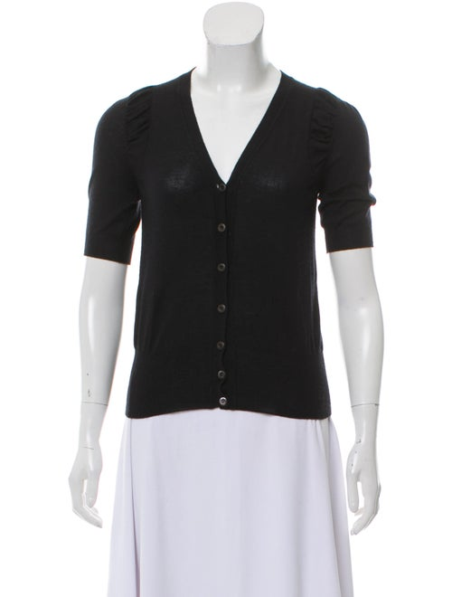 Prada Cashmere Short Sleeve Cardigan Black