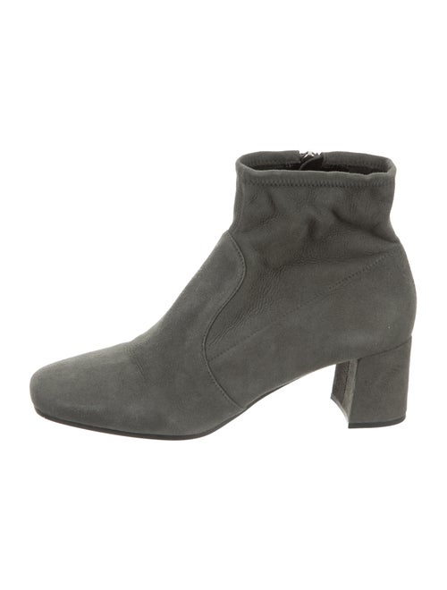 Prada Suede Square-Toe Ankle Boots