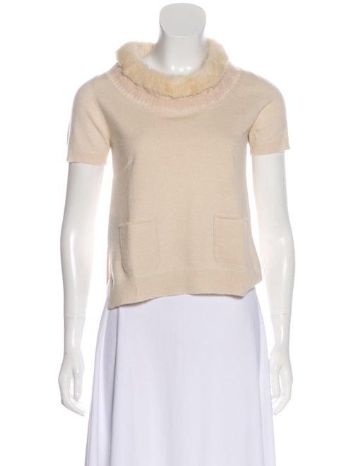 Prada Short Sleeve Cashmere Sweater Beige