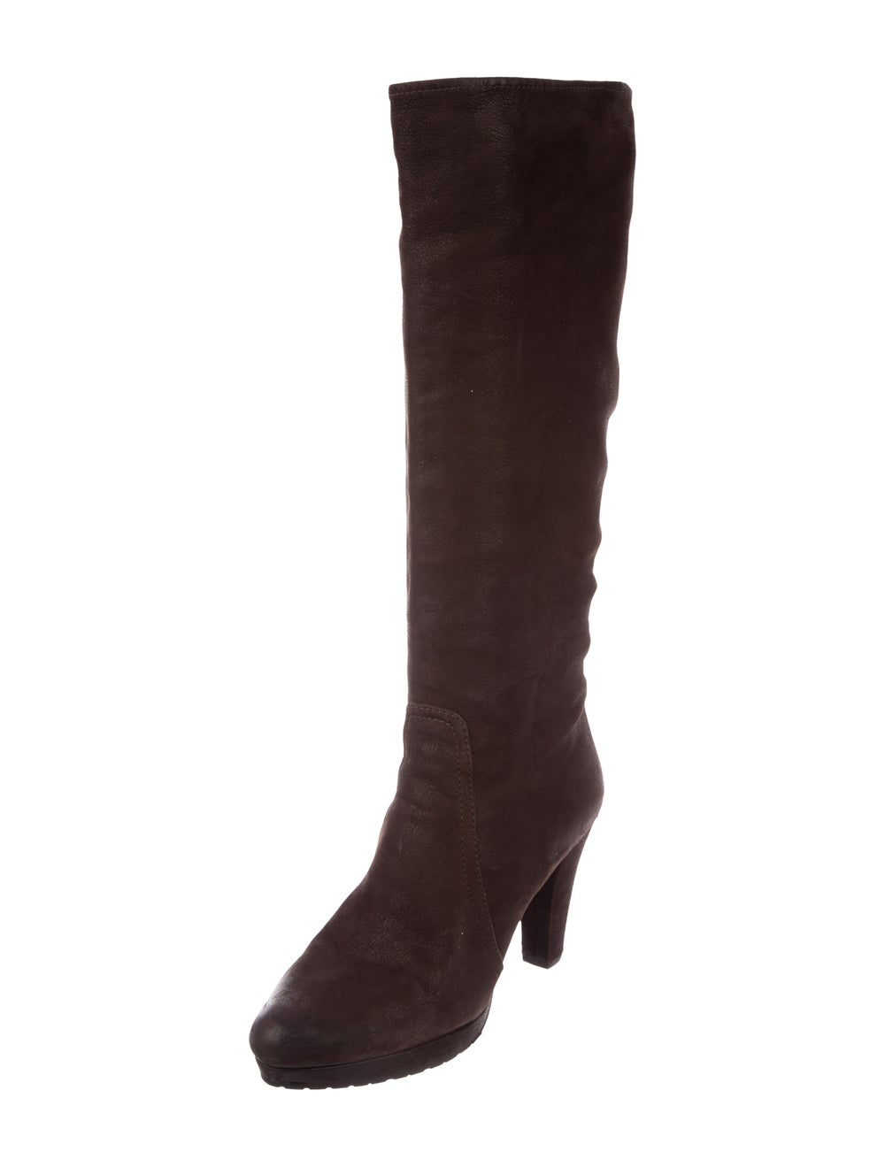 Prada Suede Knee-High Boots Brown - image 2