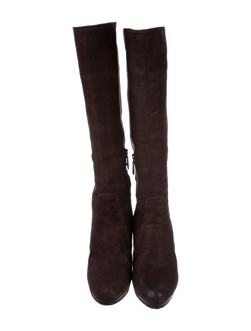 Prada Suede Knee-High Boots Brown - image 3