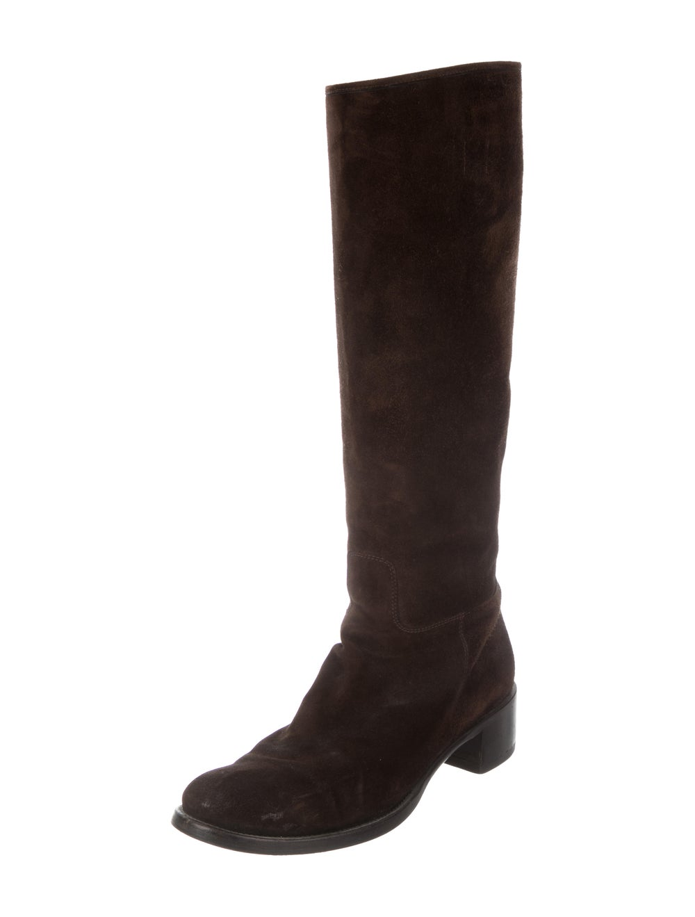 Prada Suede Knee-High Boots Brown - image 2