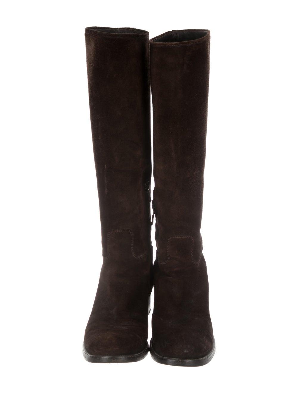 Prada Suede Knee-High Boots Brown - image 3
