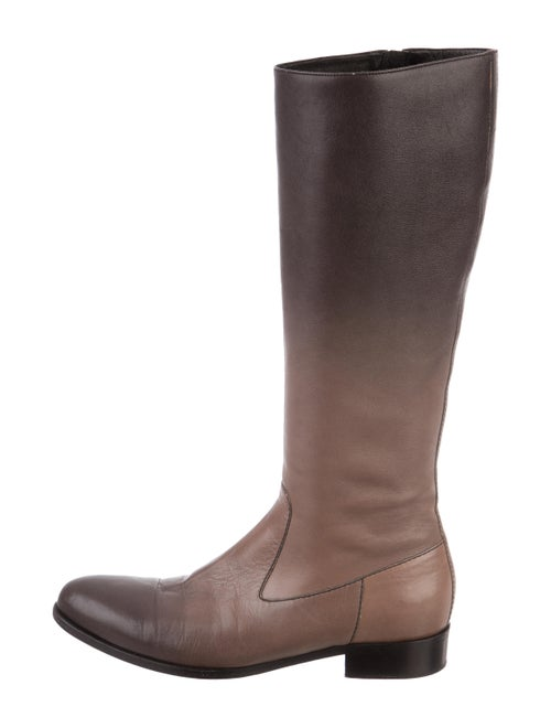 Prada Leather Knee-High Boots Brown