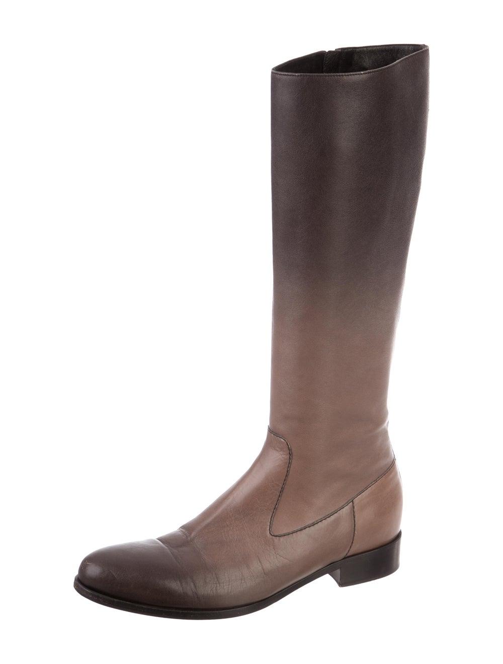 Prada Leather Knee-High Boots Brown - image 2