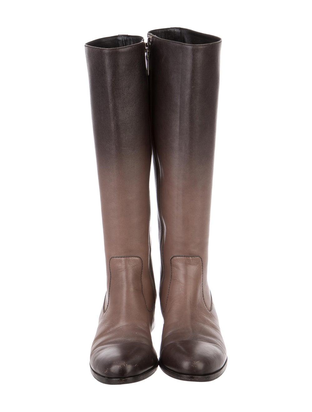 Prada Leather Knee-High Boots Brown - image 3
