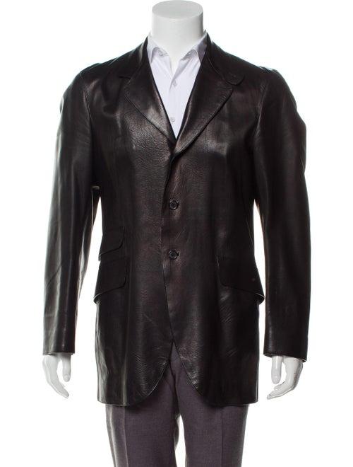Prada Leather Three-Button Blazer black