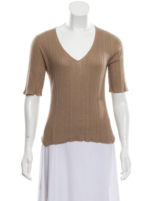 Prada Rib Knit Short Sleeve Sweater Beige