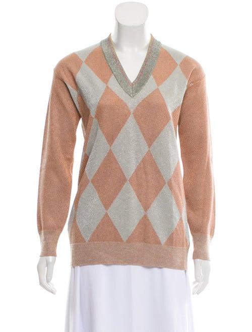 Prada Metallic Argyle Sweater Metallic