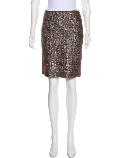 Prada Metallic Knee-Length Skirt Purple