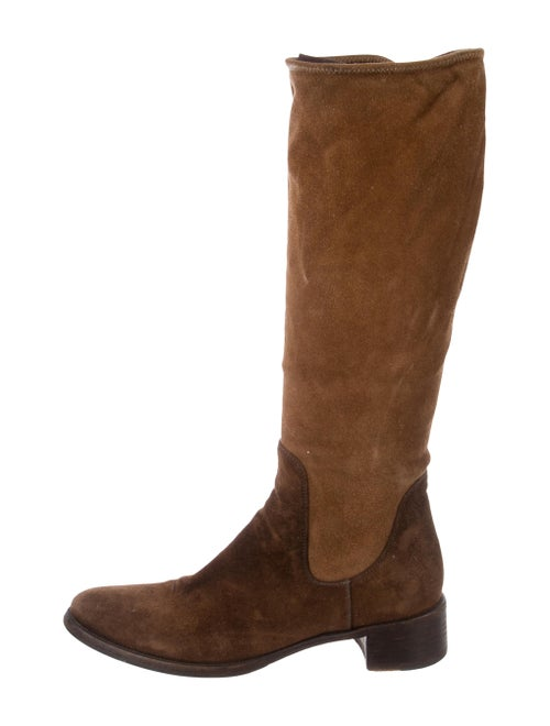 Prada Suede Knee-High Boots Brown