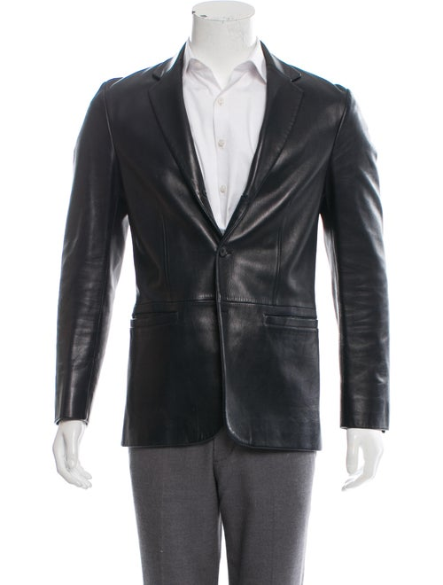 Prada Leather Button-Up Blazer blue