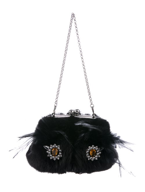 Prada Mink Embellished Cat Bag Black