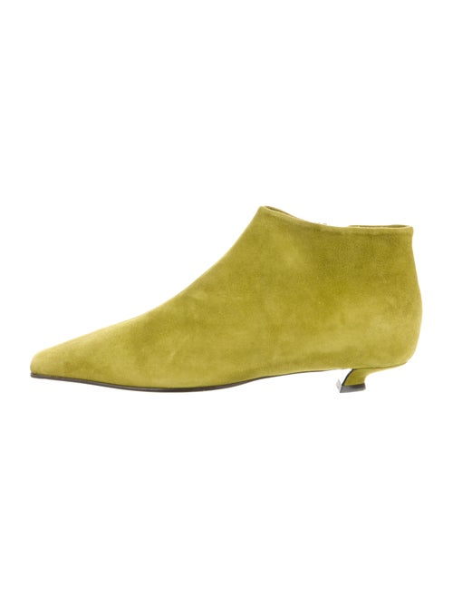 Prada Suede Square-Toe Boots Chartreuse