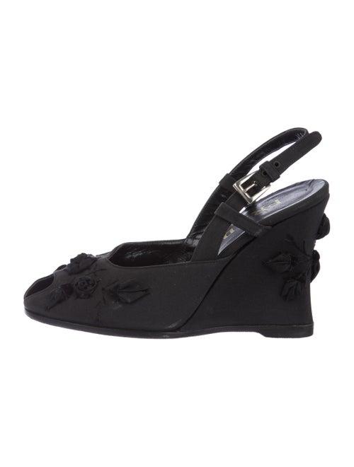 Prada Embellished Slingback Wedges Black