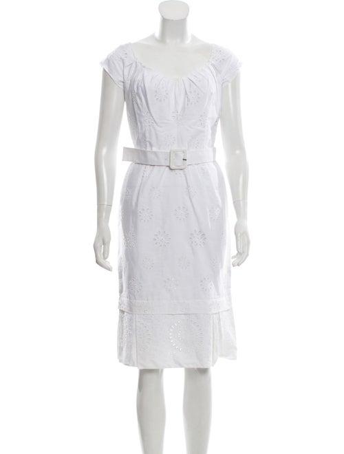 Prada Belted Eyelet Dress White