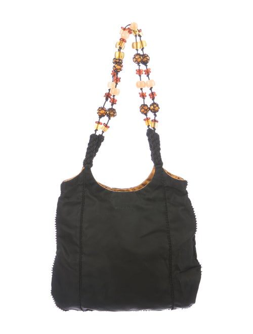 Prada Beaded Strap Hobo Black