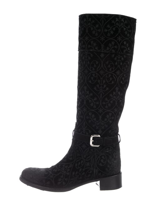Prada Embroidered Knee-High Boots Black