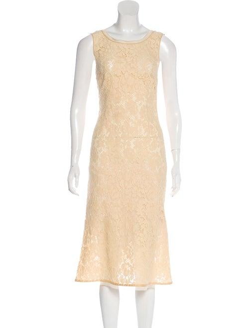 Prada Lace Midi Dress Beige