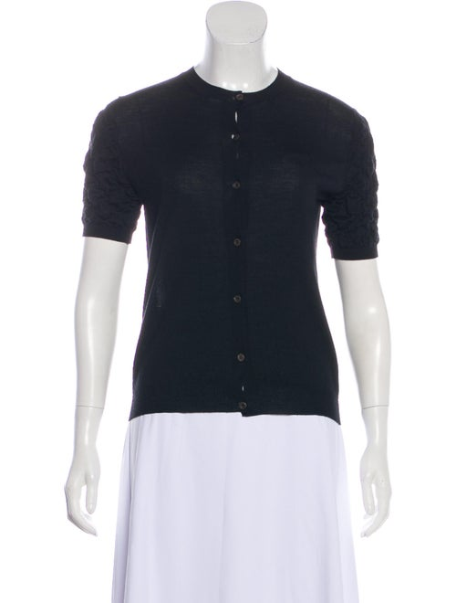 Prada Short Sleeve Wool Cardigan Black