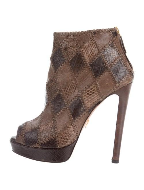 Prada Snakeskin Ankle Boots Brown
