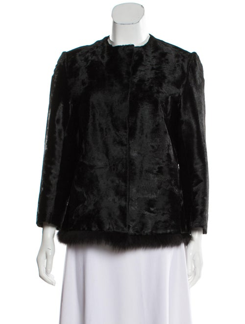 Prada Fox-Trimmed Shearling Jacket Black