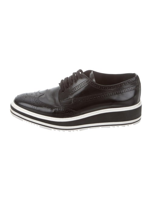 Prada Brogue Platform Leather Oxfords Black