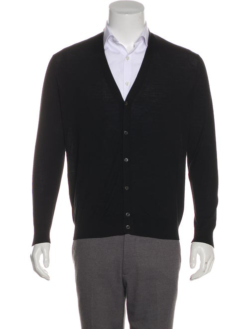 Prada Wool Rib Knit Cardigan black