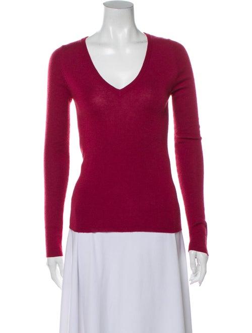 Prada Cashmere V-Neck Sweater Pink