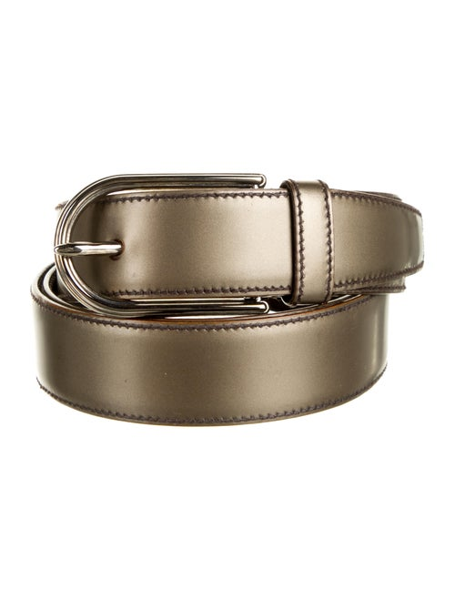 Prada Leather Metallic Belt bronze