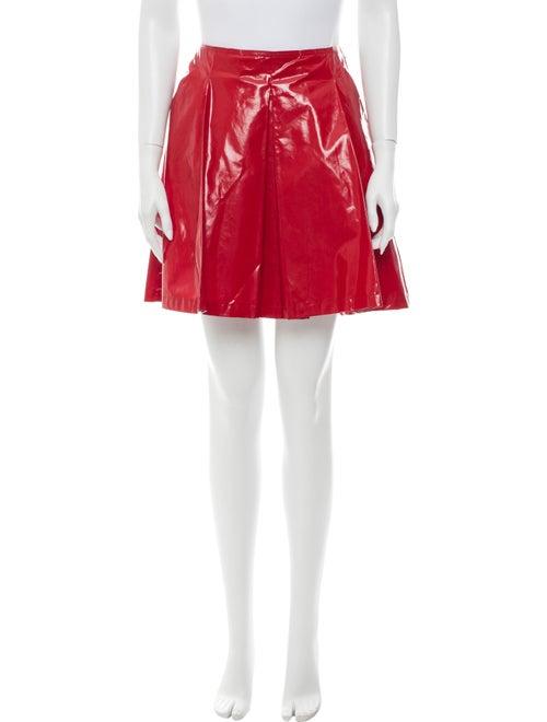 Prada Pleated Accents Mini Skirt Red