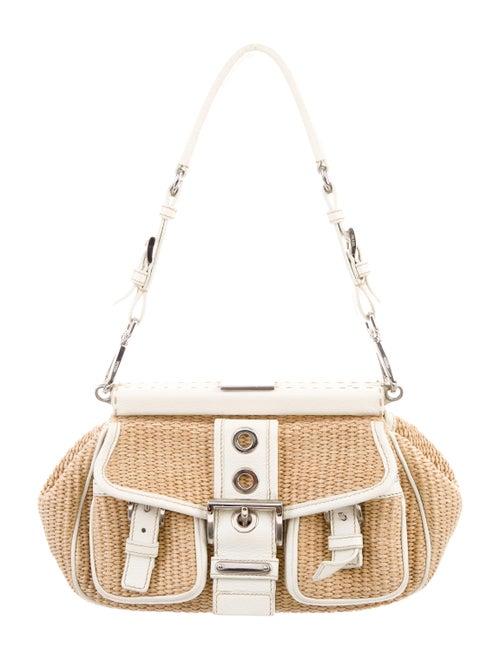 Prada Leather-Trimmed Raffia Bag Natural