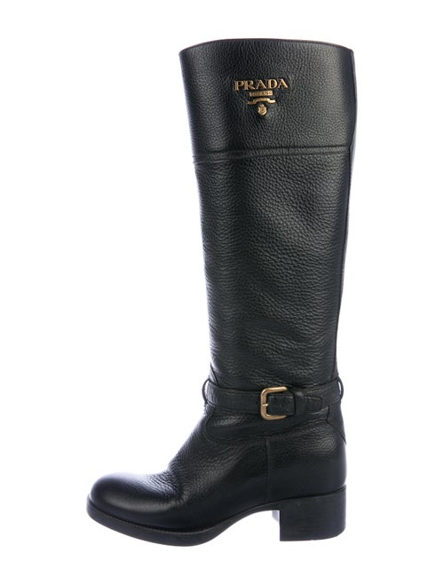 Prada Leather Knee-High Boots Black