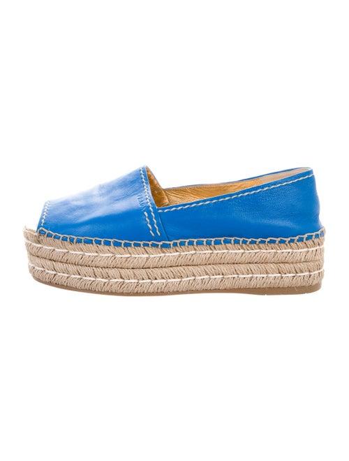 Prada Leather Flatform Espadrilles Blue