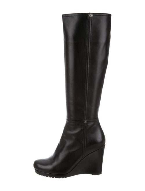 Prada Knee-High Wedge Boots Black