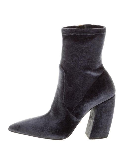 Prada Velvet Ankle Boots Blue