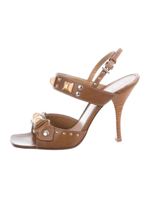 Prada Slingback Leather Slingback Sandals Brown