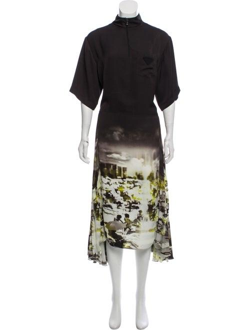 Prada Printed Maxi Dress Black