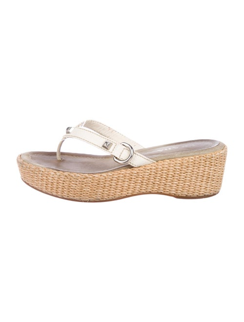 Prada Leather Thong Wedges White