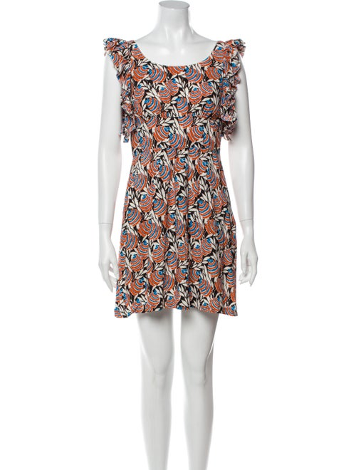 Prada Printed Ruffle-Accented Dress multicolor