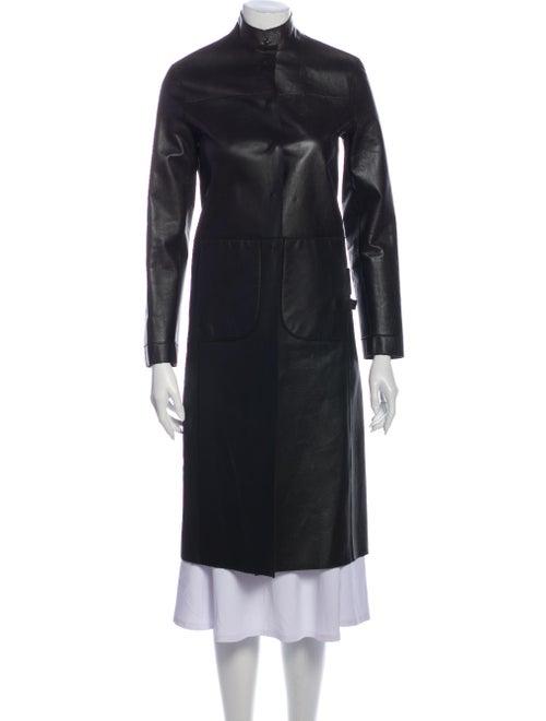 Prada Camel Leather Coat Brown