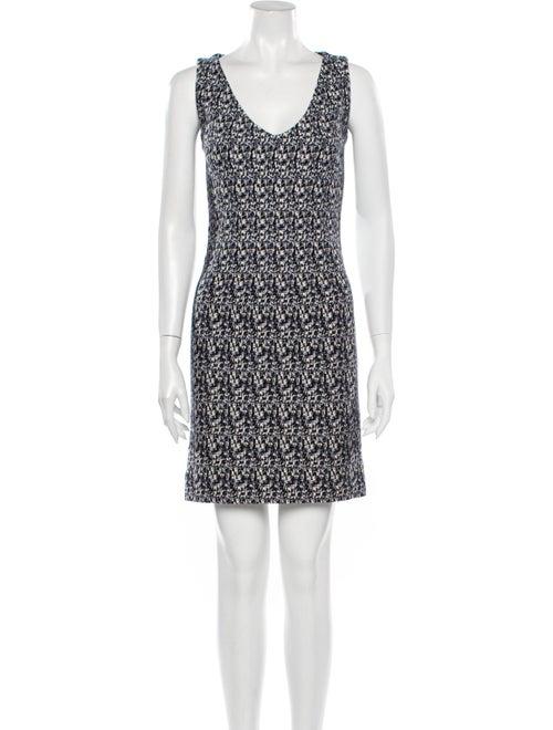 Prada Printed Bodycon Dress Blue