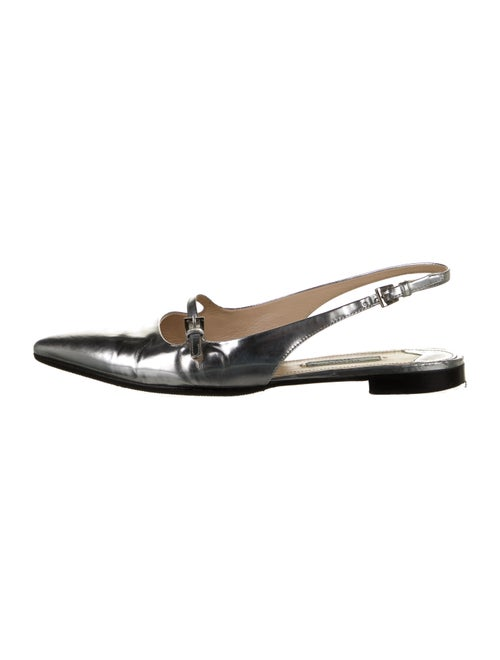 Prada Leather Slingback Flats Metallic