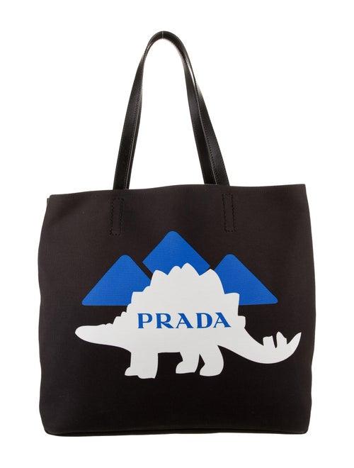 Prada 2018 Dinosaur Canapa Tote Black
