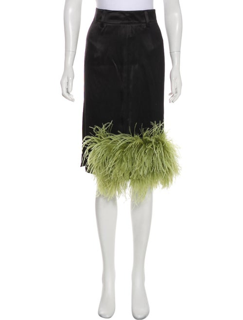 Prada Feather-Trimmed Knee-Length Skirt Black