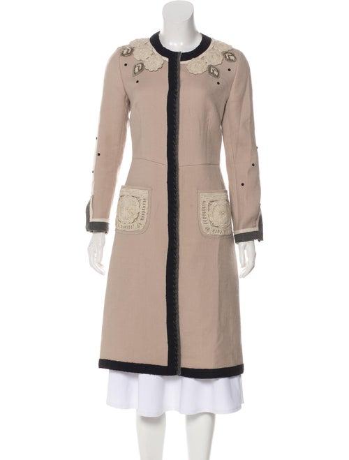Prada Embroidered Long Coat Tan
