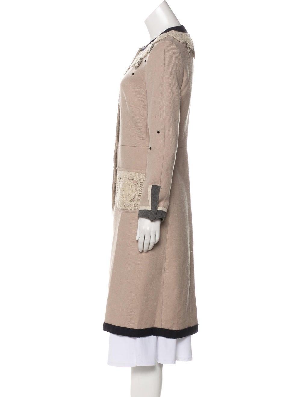 Prada Embroidered Long Coat Tan - image 2