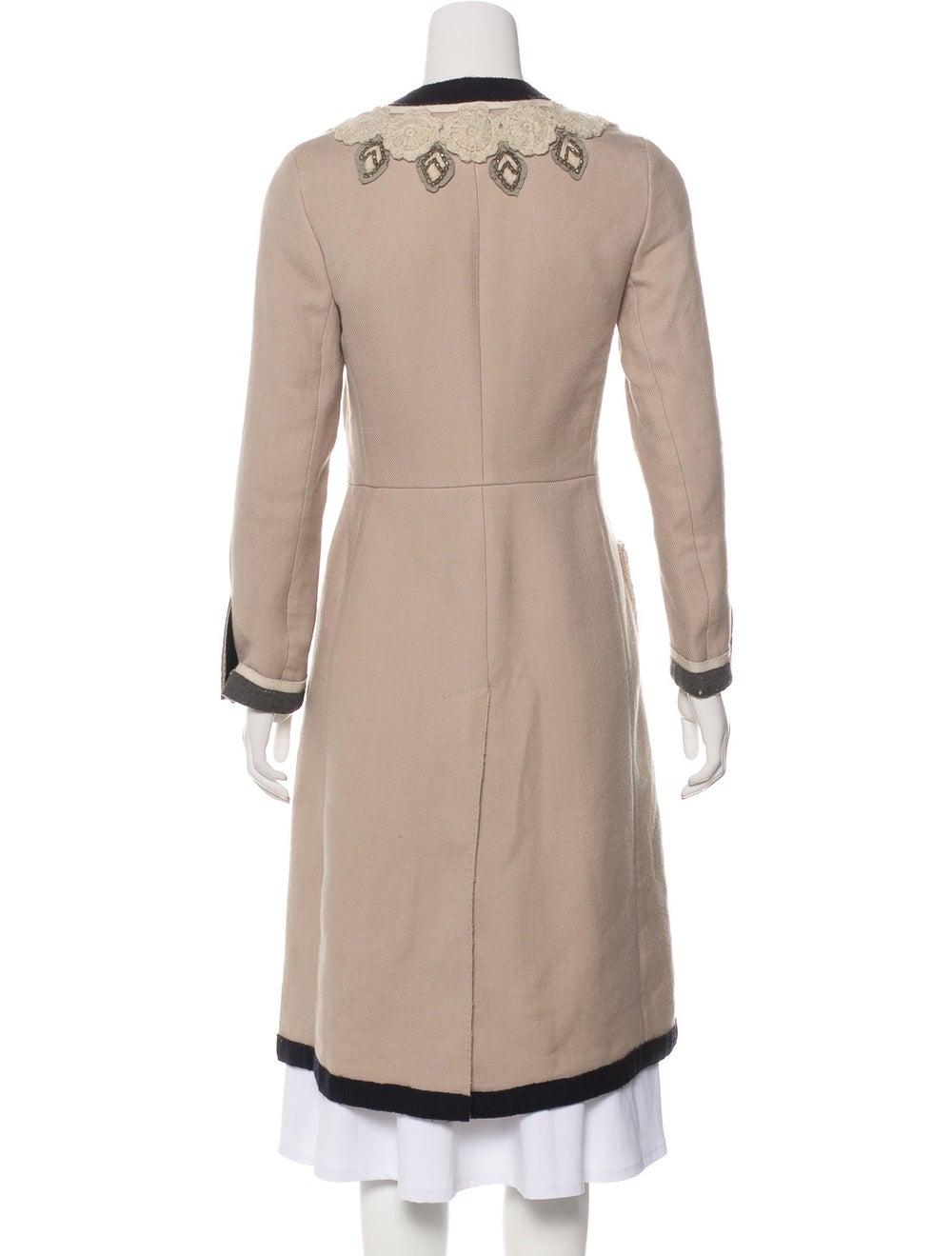 Prada Embroidered Long Coat Tan - image 3